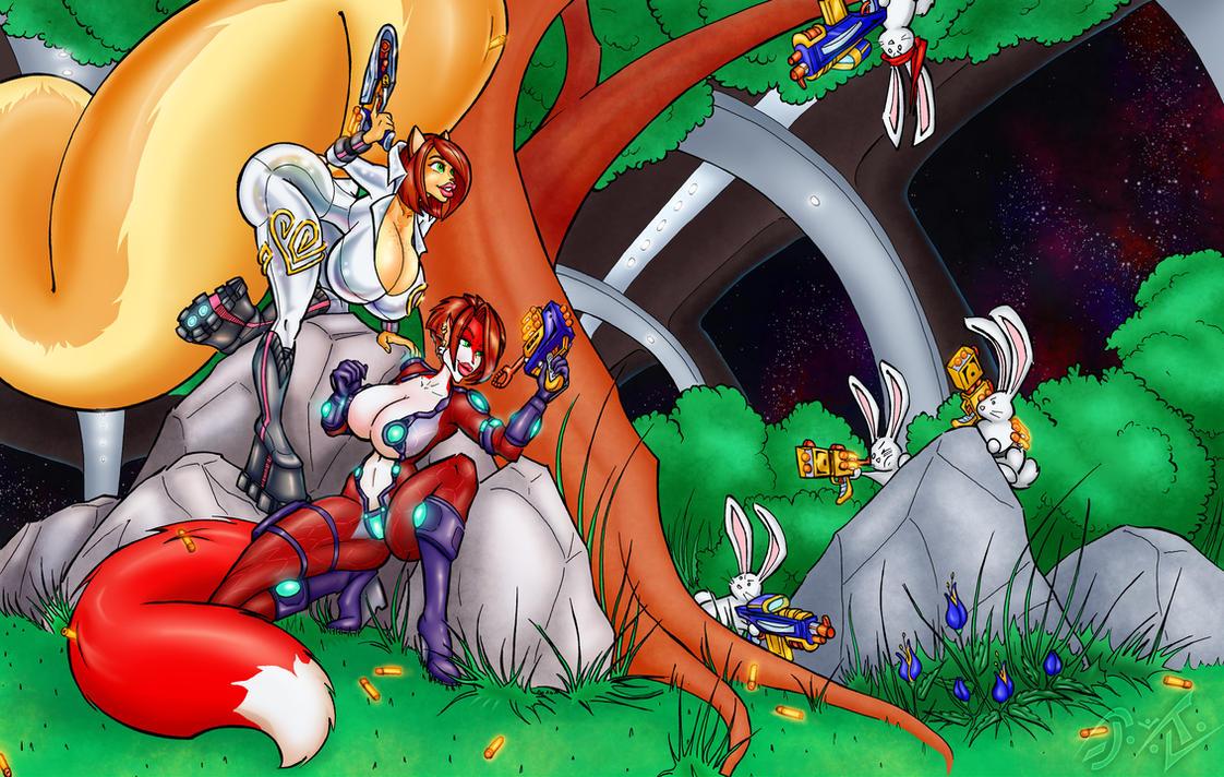 Penny n' Lynda vs. The Battle Bunnies from Space B by tekweapons