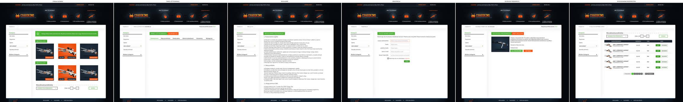 Layout skinmarket.pl sprzedaz skinow CS GO