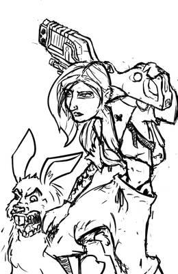 Fluttershy and Angel in cyberpunk