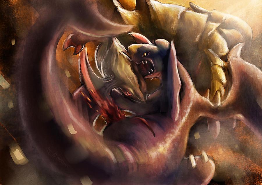 Pokemon Battle! Haxorus VS Garchomp by Moozika