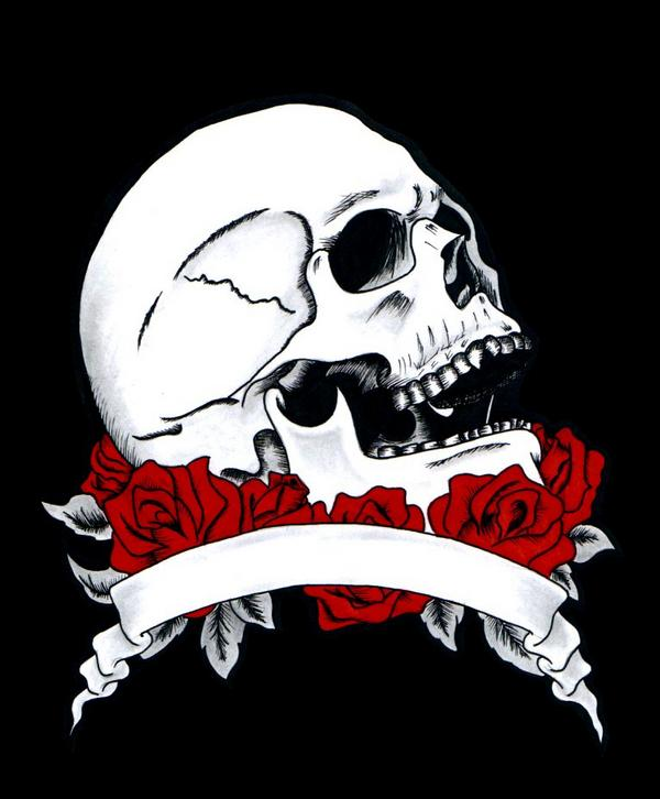 Skull and Roses by chachainsaw