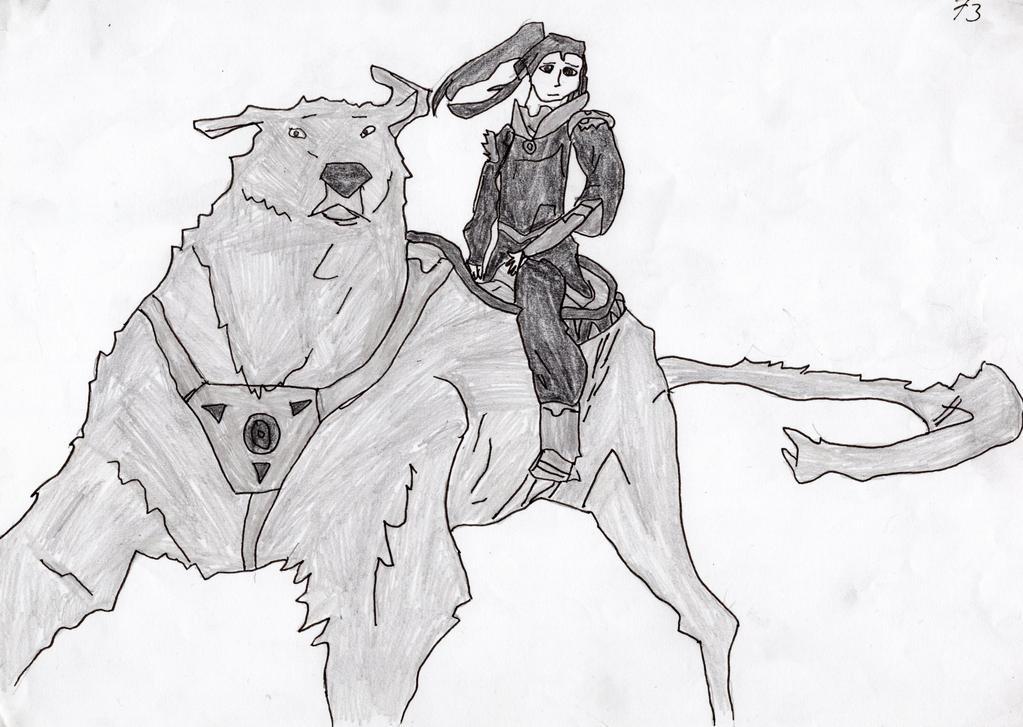 Korra and Naga by LOrdalie