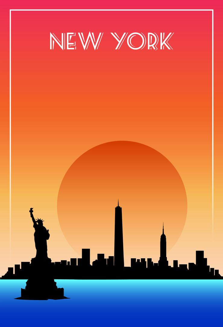 poster design new york by miqueleno on deviantart. Black Bedroom Furniture Sets. Home Design Ideas