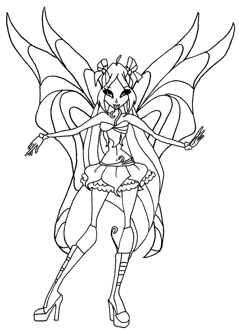 Flora speedix blackwhite by 761 1050 winx for Winx club coloring pages flora