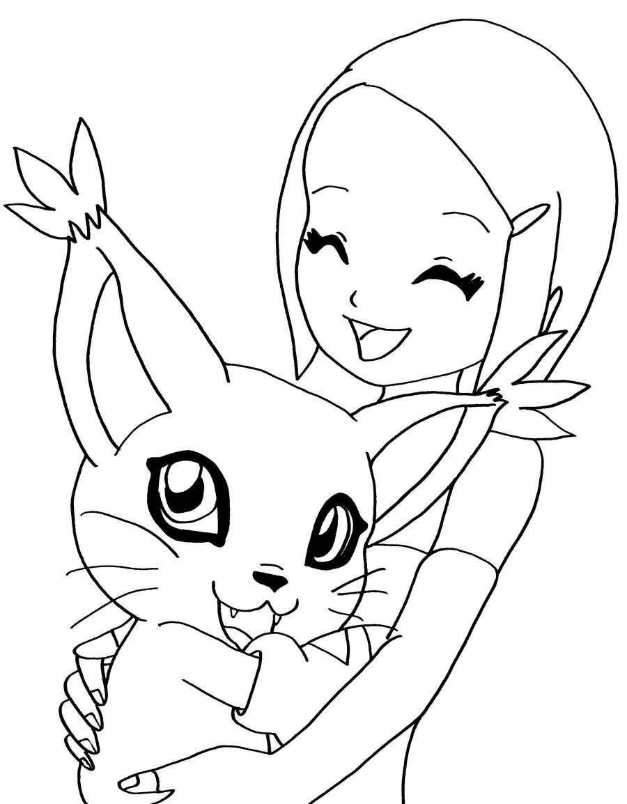 Kari and her digimon by elfkena on deviantart for Free digimon coloring pages