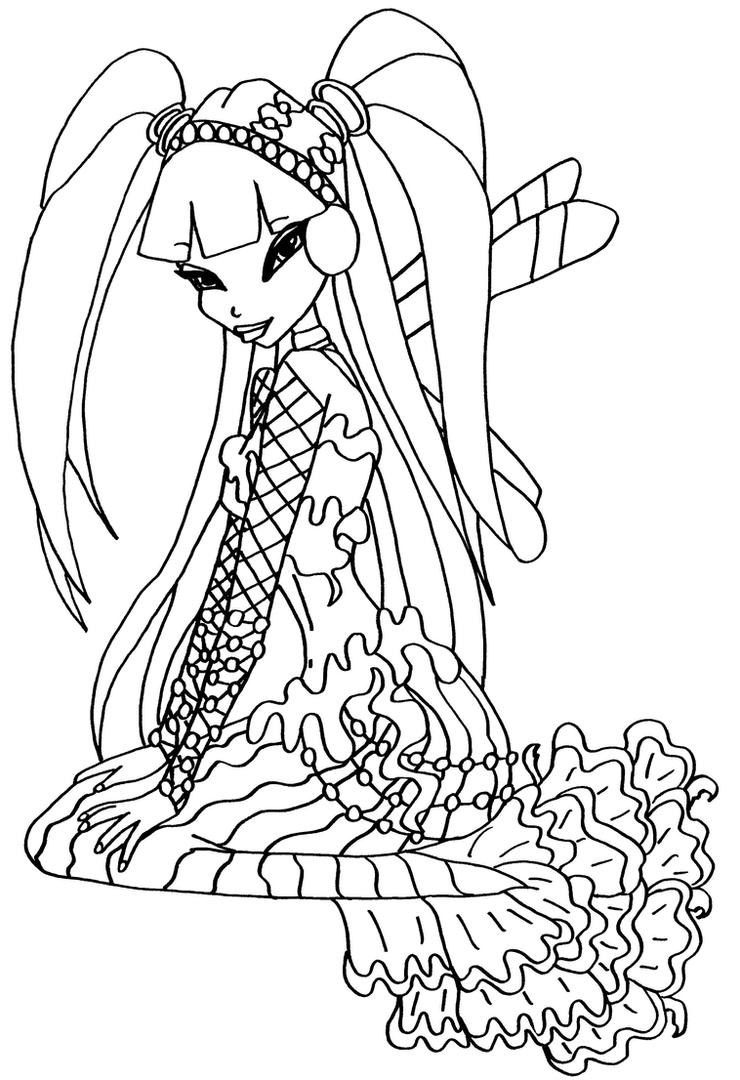 winx club musa coloring pages - bw mermaid musa 2 by elfkena on deviantart