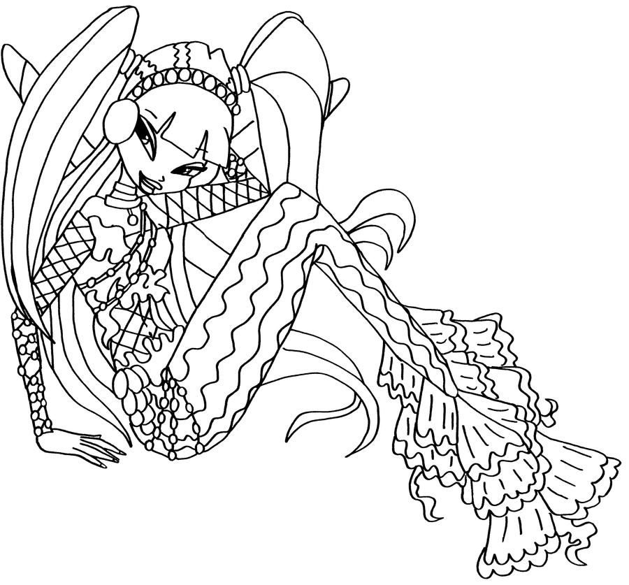 Musa mermaid 3 bw by elfkena on deviantart - Coloriage winx ...