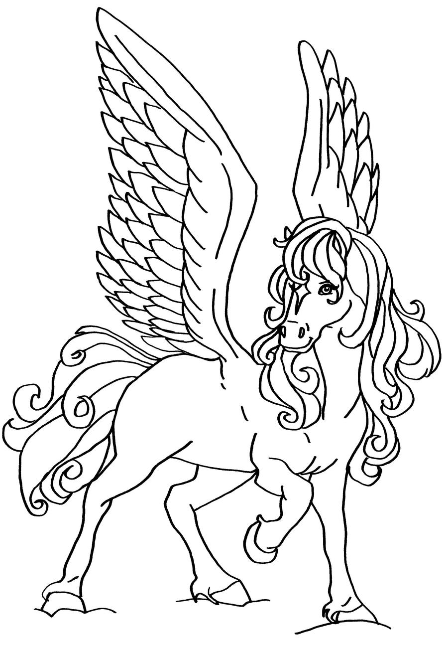 horse coloring pages for girls - flying horse by elfkena on deviantart