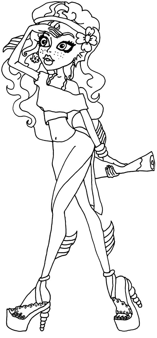monster high coloring pages lagoona - lagoona blue bw by elfkena