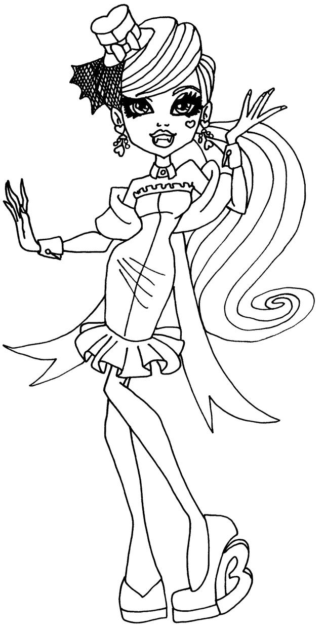 Monster high coloring pages of draculaura ~ draculaura bw by elfkena on DeviantArt
