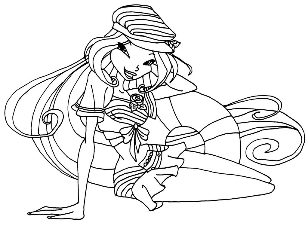 Sailor outfit flora by elfkena on deviantart for Winx club coloring pages flora