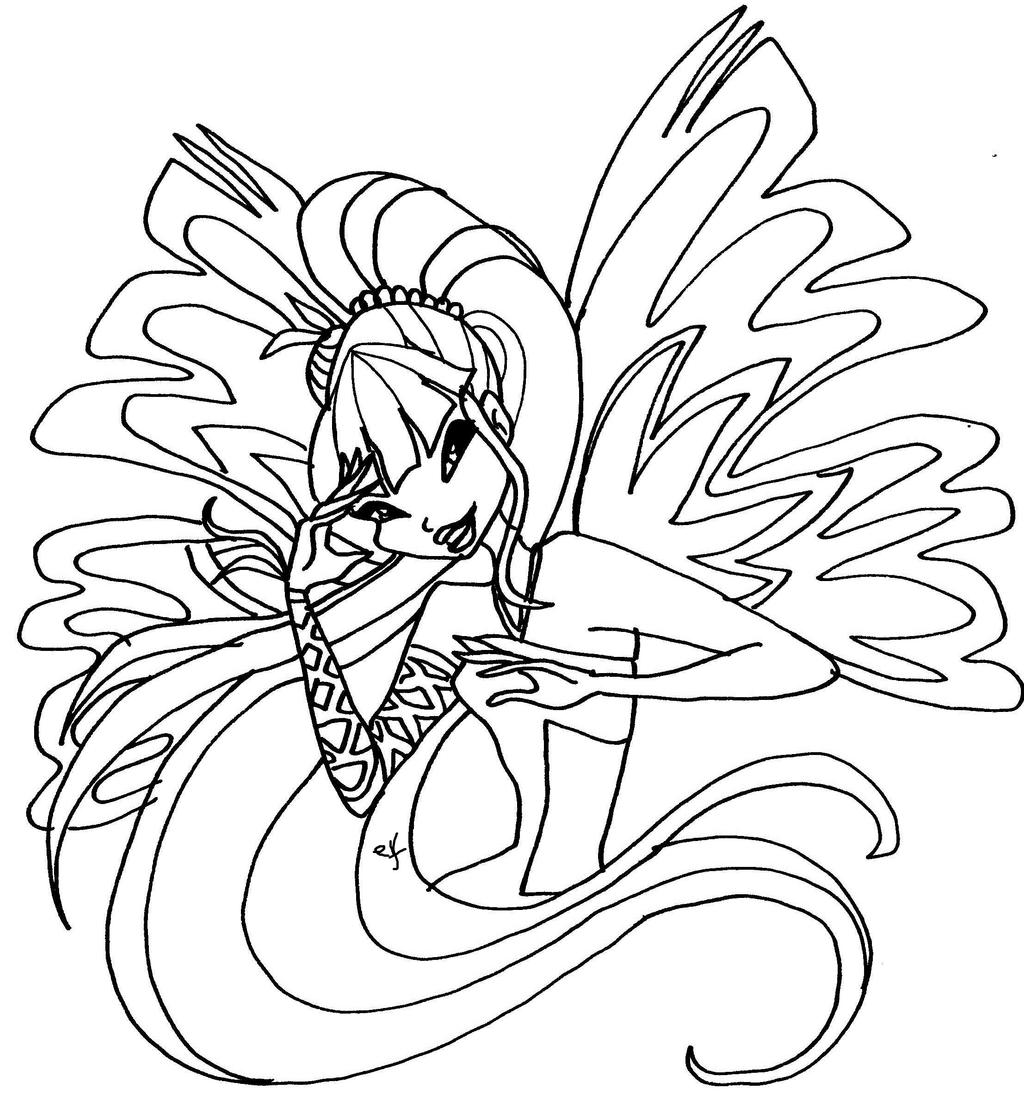 Winx Club Stella Sirenix Coloring Pages Sketch Coloring Page