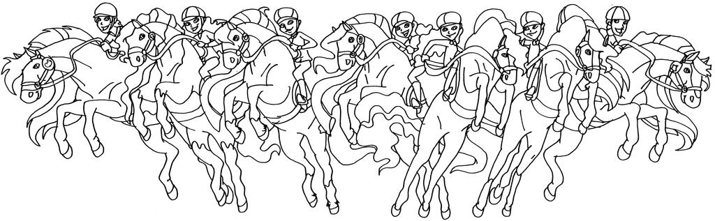 horseland all riders and horses by elfkena - Horseland Coloring Pages Print