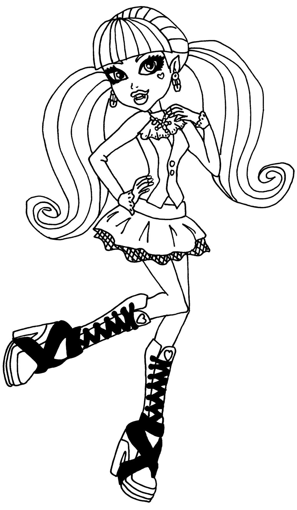 Draculaura By Elfkena On Deviantart Draculaura Coloring Pages