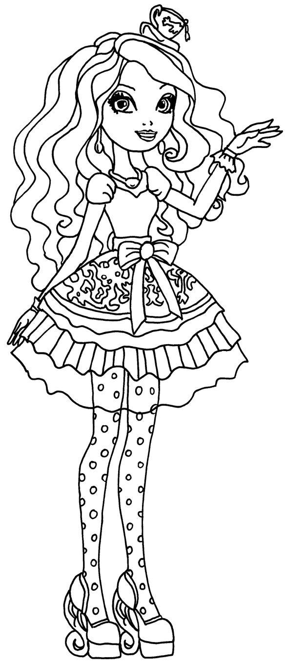 ever after high madeline hatter coloring pages - madeline hatter by elfkena on deviantart