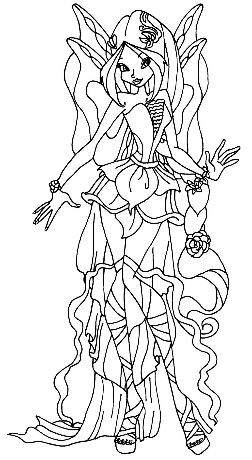 Harmonix flora by elfkena on deviantart for Winx club coloring pages flora