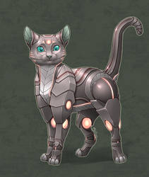 Commission - Anonymous - Robot kitty v3 by shibara-draws-mecha