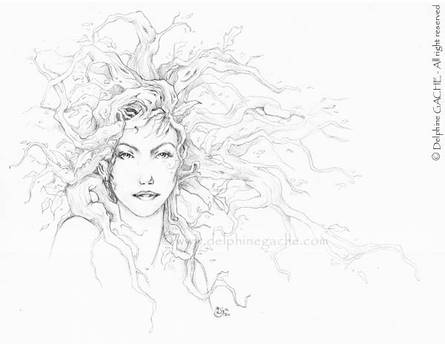 The red hair dryad - BW