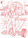 Sketch: Gangster Antro-dog by Nornefirecat