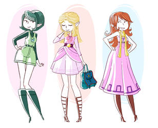 Ocarina of time fashion girls by yllya