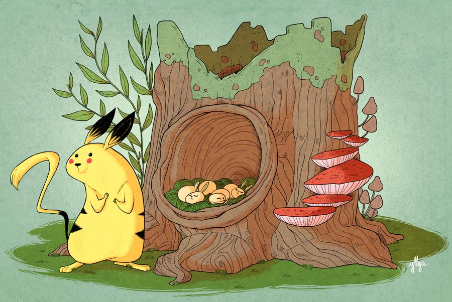 Wild Pikachu Nest by yllya