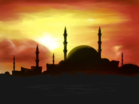 city with mosque at sunset