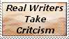 Real Writers Take Criticism by ilike2draw