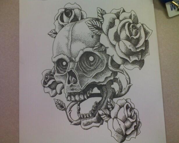 Skull dot work finished by pathosda