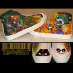 Custom shoes, Deadpool and the Joker by rAskopticon