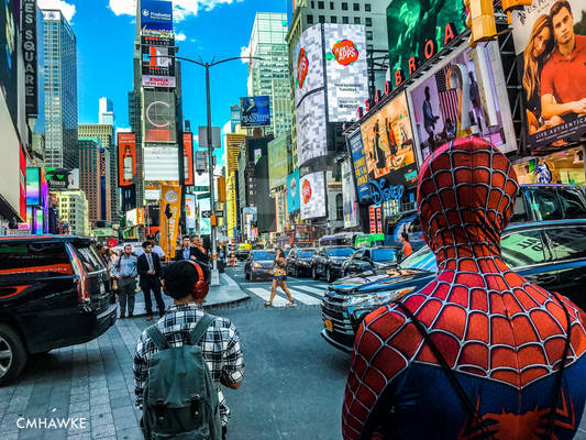 Spiderman in Times Square