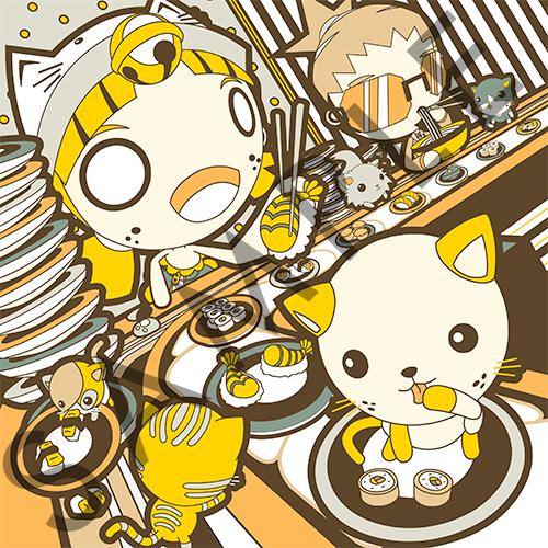 Sushi-Go-Cat Kickstarter print by GoshaDole