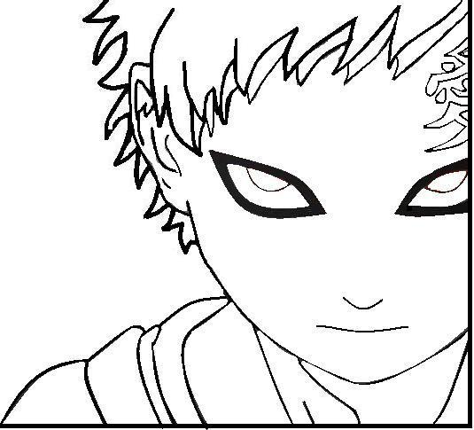 naruto gaara coloring pages - gaara black and white by robotpirateninja007 on deviantart