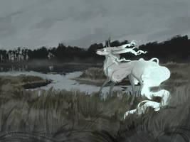 a ghost in a forest by xzazu2002