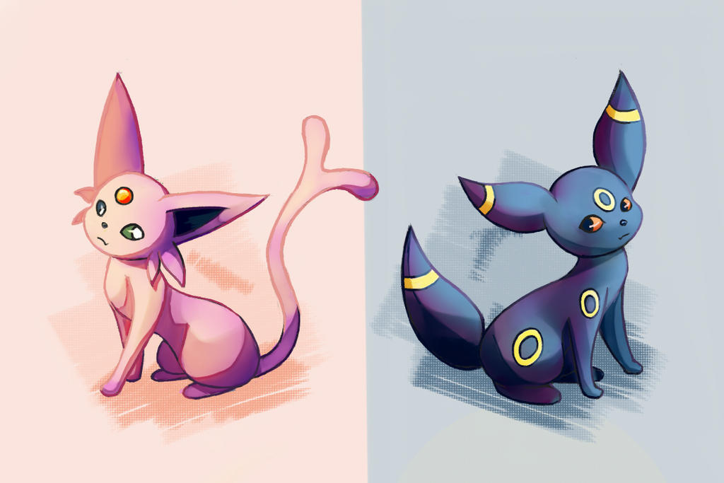 Eeveelution: Espeon and Umbreon by TommyBinh
