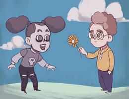 Goth girl and geek boy