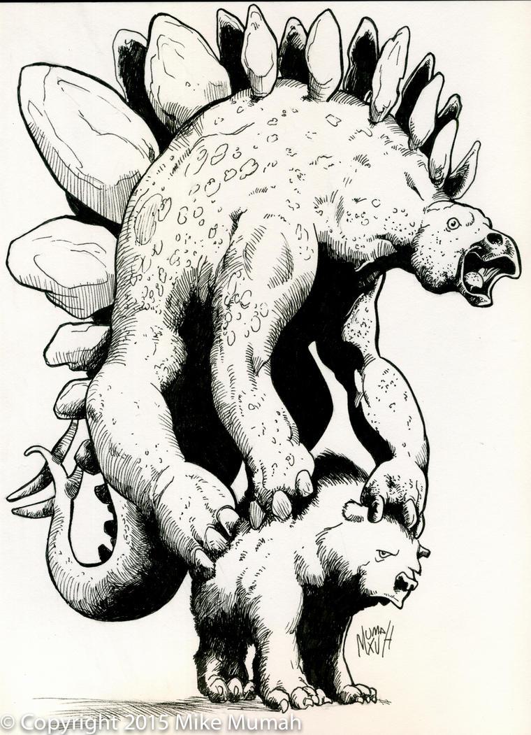 Stegosaurus and Bear by Mumah