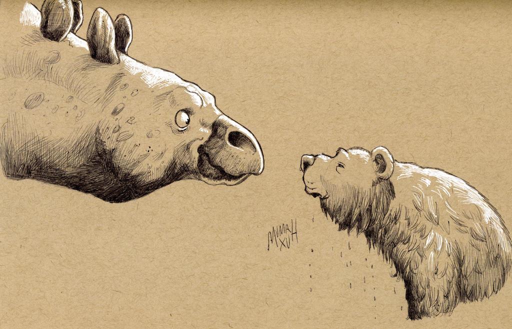 Stegosaurus and Wet Bear by Mumah