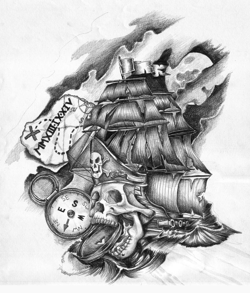 Pirate Ship Skull Tattoo design by GriffonGore on DeviantArt