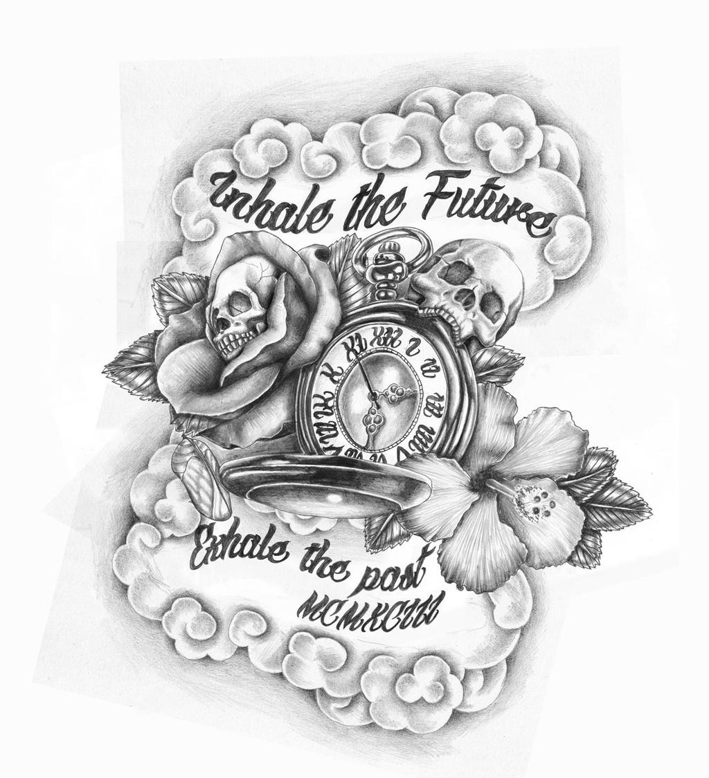 Compass, Time Tattoos And Skull