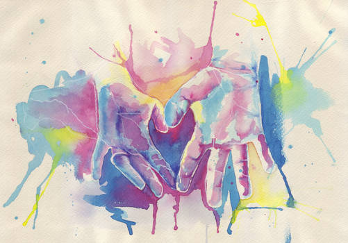 Watercolour Hands of love