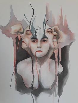 Silence in suffering - Watercolour portrait