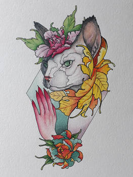 Cat Neotraditional watercolour tattoo design