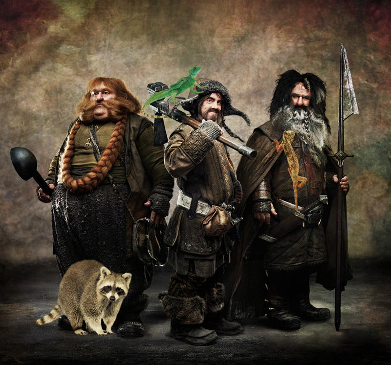 Bifur, Bofur, Bombur and Their Daemons by LJ-Todd