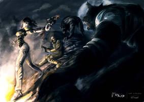 Vampires/wolves battle by nfouque