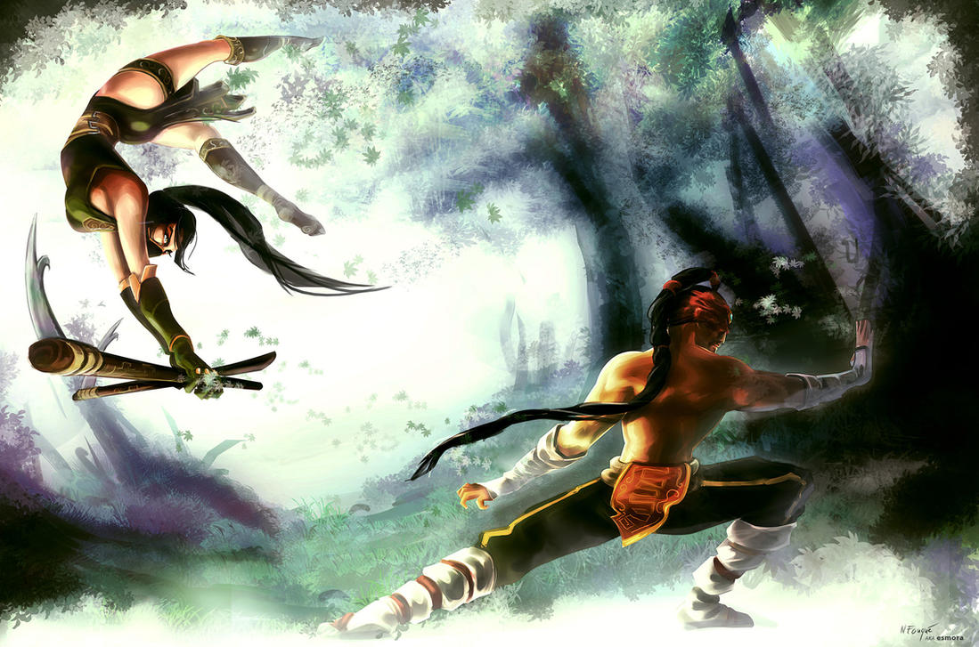 Akali VS Lee Sin by nfouque