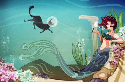 smoking mermaid and swimming cat