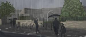 Rainy day at school
