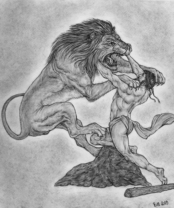 Heracles and the Nemean Lion by Bill-Con