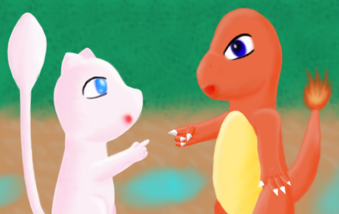 Mew and Charmander by MikariStar
