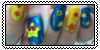 Blue and Yellow Manicure Stamp 2 by MikariStar